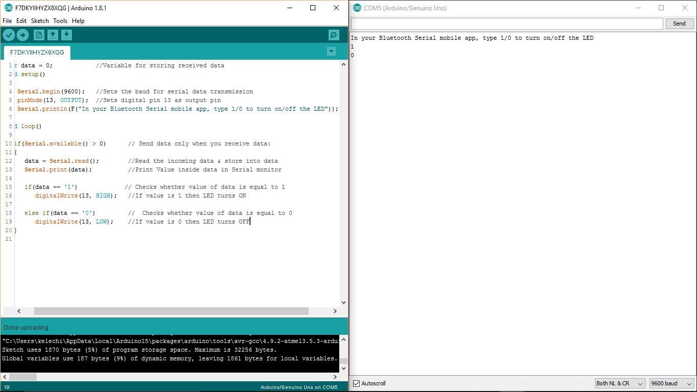 Arduino serial monitor result