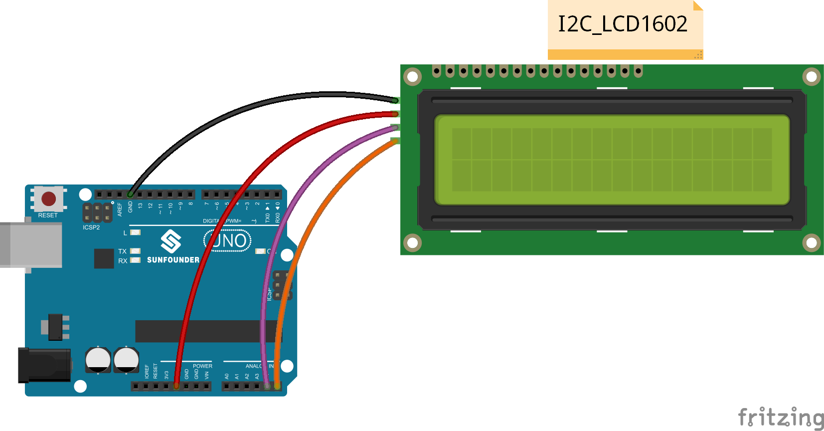 LCM1602 to arduino connection